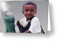 Philly Fountain Kid Greeting Card by Brian Wallace