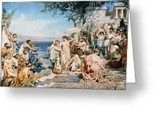 Phryne At The Festival Of Poseidon In Eleusin Greeting Card by Henryk Siemieradzki