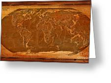 Physical Map Of The World Antique Style Greeting Card by Theodora Brown