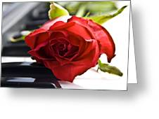 Piano Rose Greeting Card by Sophie De Roumanie