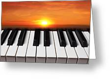 Piano Sunset Greeting Card by Garry Gay