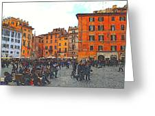 Piazza Della Rotunda In Rome 2 Greeting Card by Jen White
