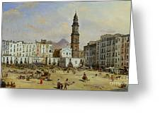 Piazza Mazaniello In Naples Greeting Card by Jean Auguste Bard