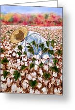 Picking Cotton Greeting Card by Barbel Amos