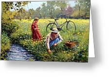Picking Yellow Flowers Greeting Card by Roelof Rossouw