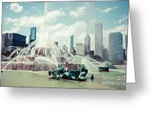 Picture of Buckingham Fountain with Chicago Skyline Greeting Card by Paul Velgos