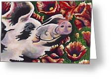 Pig 'n Poppies Greeting Card by Shawna Elliott