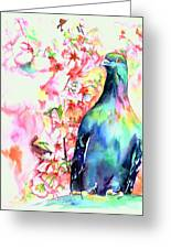 Pigeon Eye Greeting Card by Christy  Freeman