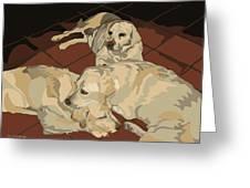 Pile Of Three Pups Greeting Card by Su Humphrey