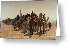 Pilgrims Going To Mecca Greeting Card by Leon Auguste Adolphe Belly