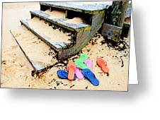Pink And Blue Flip Flops By The Steps Greeting Card by Michael Thomas