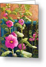 Pink Hollyhocks Greeting Card by Candy Mayer