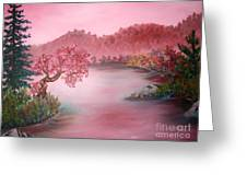 Pink Lake Greeting Card by Emily Michaud