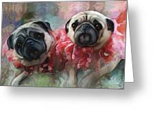 Pink Pug Princesses On Parade Greeting Card by Elizabeth Murphy
