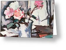 Pink Roses Greeting Card by Samuel John Peploe