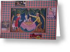 Pink Sidewalk Politics Greeting Card by Barbara Nesin