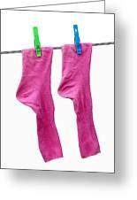 Pink Socks Greeting Card by Frank Tschakert