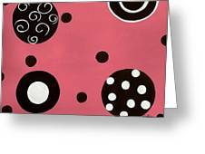 Pink Swirly Curly Greeting Card by Katie Slaby