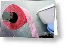 Pink toilet roll on holder in bathroom Greeting Card by Sami Sarkis