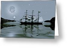 Pirate Cove By Night Greeting Card by Madeline  Allen - SmudgeArt