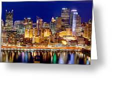 Pittsburgh Pennsylvania Skyline At Night Panorama Greeting Card by Jon Holiday