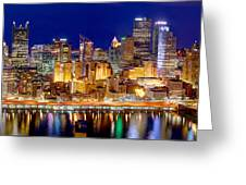 Pittsburgh Pennsylvania Skyline At Night Panorama Greeting Card by Jon Holiday
