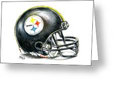 Pittsburgh Steelers Helmet Greeting Card by James Sayer
