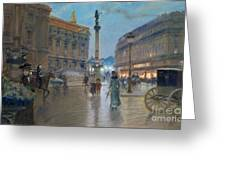 Place De L Opera In Paris Greeting Card by Georges Stein