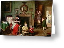 Playing At Doctors Greeting Card by Frederick Daniel Hardy