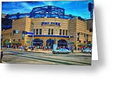 PNC Park Greeting Card by Matt Matthews