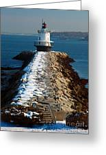 Point Spring Ledge Light - Lighthouse Seascape Landscape Rocky Coast Maine Greeting Card by Jon Holiday