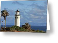 Point Vicente Lighthouse On The Cliffs Of Palos Verdes California Greeting Card by Christine Till