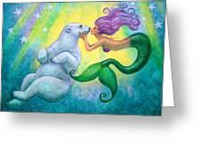 Polar Bear Kiss Greeting Card by Sue Halstenberg