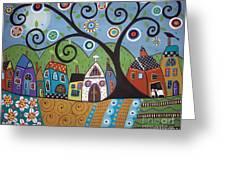 Polkadot Church Greeting Card by Karla Gerard