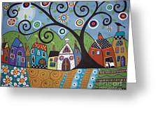 Polkadot Church Greeting Card by Karla Gerard