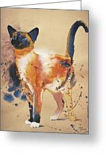 Pollock's Cat Greeting Card by Eve Riser Roberts