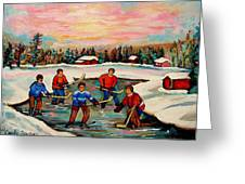 Pond Hockey Countryscene Greeting Card by Carole Spandau