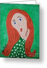 Pondering Redhead Greeting Card by Jeannie Atwater Jordan Allen