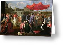 Pope Clement Xi In A Procession In St. Peter's Square In Rome Greeting Card by Pier Leone Ghezzi