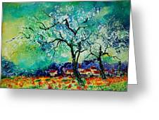 Poppies And Appletrees In Blossom Greeting Card by Pol Ledent