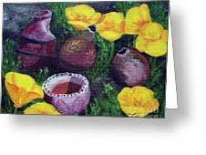 Poppies And Pottery Greeting Card by Laura Iverson