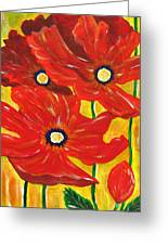 Poppies Painting  Greeting Card by Linda Larson Marshutz