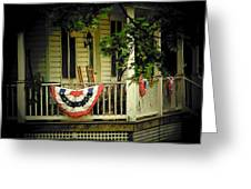 Porch Flag Greeting Card by Michael L Kimble