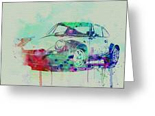 Porsche 911 Watercolor 2 Greeting Card by Naxart Studio