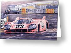 Porsche 917-20 Pink Pig Le Mans 1971 Joest Reinhold Greeting Card by Yuriy  Shevchuk