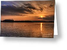 Portaferry Sunset Greeting Card by Kim Shatwell-Irishphotographer