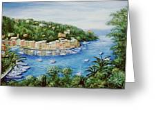 Portofino Majestic Panoramic View Greeting Card by Marilyn Dunlap