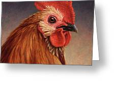 Portrait of a Rooster Greeting Card by James W Johnson