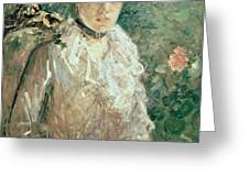 Portrait of a Young Lady Greeting Card by Berthe Morisot