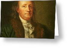 Portrait of Benjamin Franklin Greeting Card by George Peter Alexander Healy